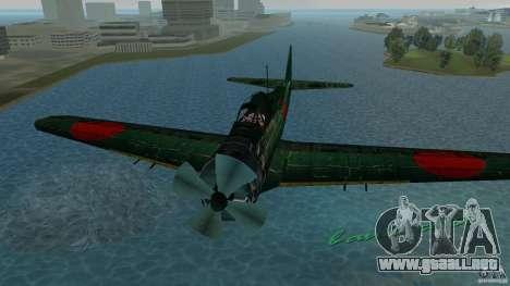 Zero Fighter Plane para GTA Vice City vista posterior