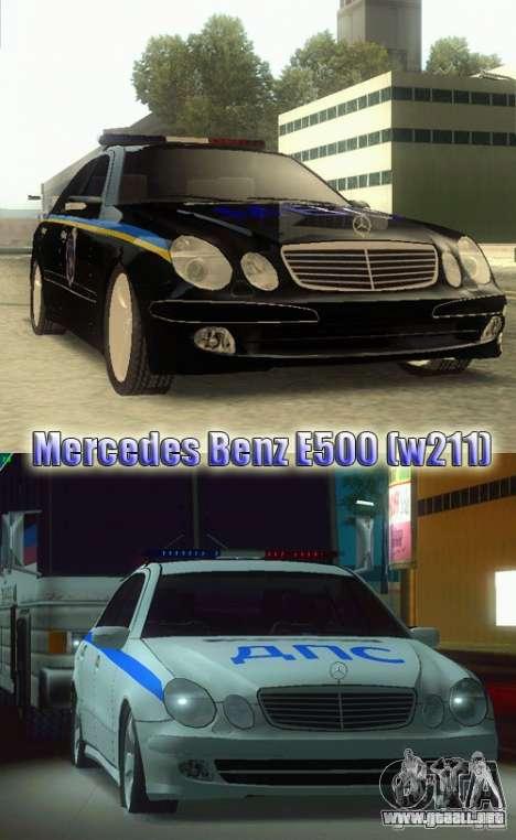 MERCEDES BENZ E500 w211 SE policía Ucrania para GTA San Andreas vista posterior izquierda