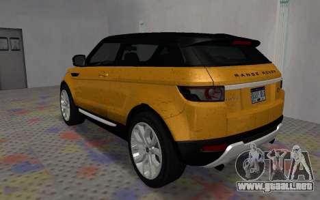 Land Rover Range Rover Evoque para GTA San Andreas left