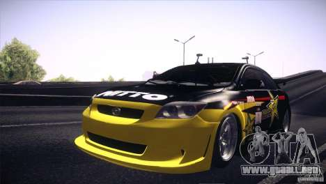 Scion TC Rockstar Team Drift para GTA San Andreas vista hacia atrás