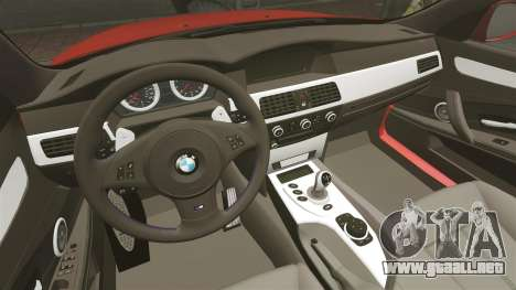 BMW M5 E60 2009 para GTA 4 vista interior