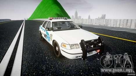 Ford Crown Victoria v2 NYPD [ELS] para GTA 4 vista hacia atrás