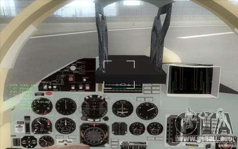 El Su-37 Terminator para GTA San Andreas vista hacia atrás