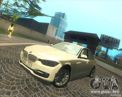 BMW 3 Series F30 2012 para vista inferior GTA San Andreas