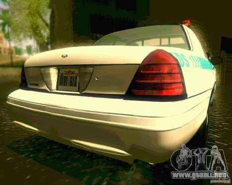 Ford Crown Victoria 2003 NYPD police para GTA San Andreas vista hacia atrás