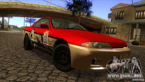 Nissan Skyline R32 para GTA San Andreas vista hacia atrás