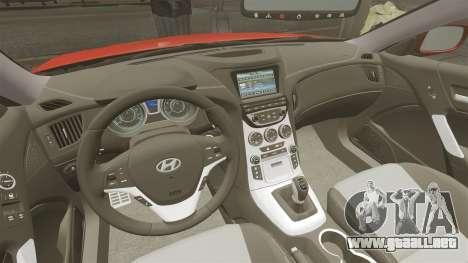 Hyundai Genesis Coupe 2013 para GTA 4 vista hacia atrás
