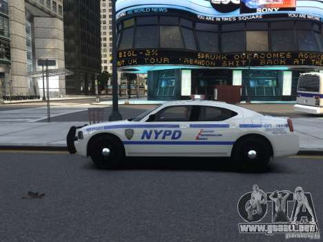 Dodge Charger NYPD para GTA 4 vista hacia atrás
