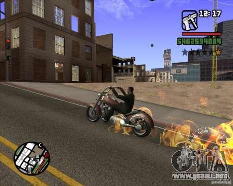 Ghost Rider para GTA San Andreas sucesivamente de pantalla