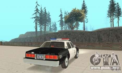 Chevrolet Caprice Interceptor 1986 Police para GTA San Andreas vista posterior izquierda