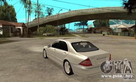 Mercedes Benz S600 para GTA San Andreas vista posterior izquierda