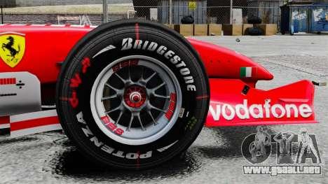 Ferrari F2005 para GTA 4 vista hacia atrás