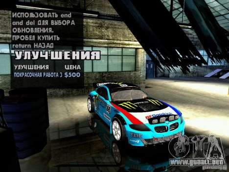 BMW Z4 Rally Cross para vista inferior GTA San Andreas