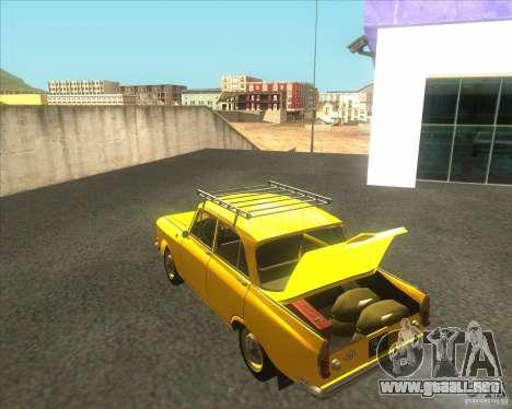 Moskvich 408 para GTA San Andreas vista posterior izquierda