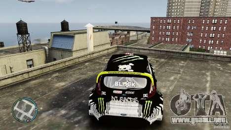 Ken Block Ford Fiesta 2011 para GTA 4 vista hacia atrás