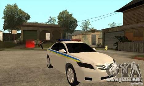 Toyota Camry 2010 SE Police UKR para GTA San Andreas vista hacia atrás