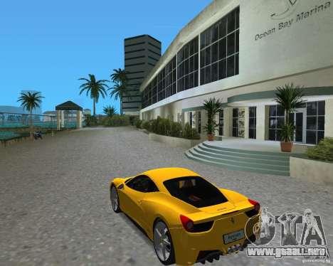Ferrari 458 Italia para GTA Vice City visión correcta