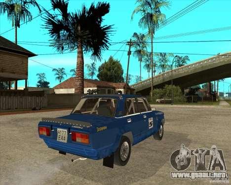 Rally de VFTS LADA 2105 para GTA San Andreas vista posterior izquierda