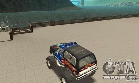 Chevrolet Blazer K5 Monster Skin 3 para GTA San Andreas vista posterior izquierda
