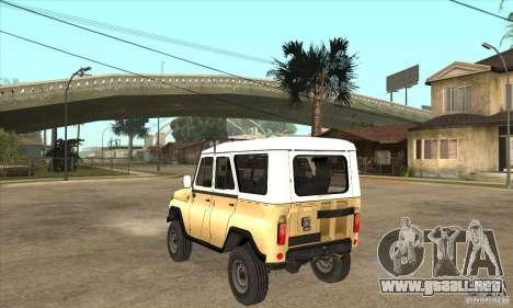 UAZ 31514 para GTA San Andreas vista posterior izquierda