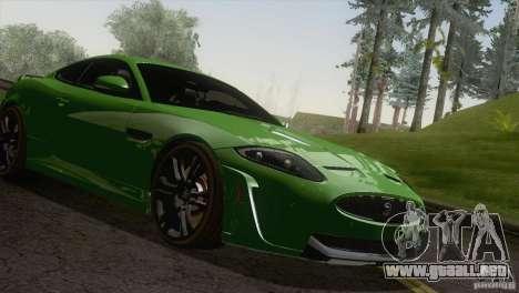 Jaguar XKR-S 2011 V1.0 para GTA San Andreas vista hacia atrás