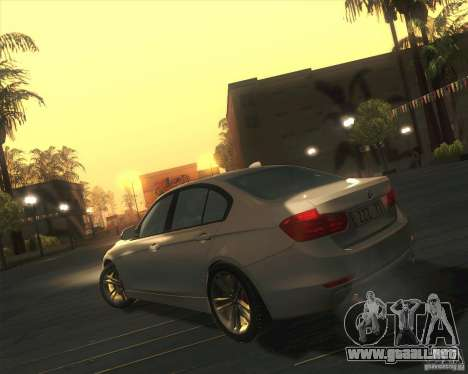 BMW 3 Series F30 2012 para GTA San Andreas vista posterior izquierda