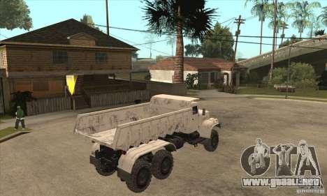 Camión KRAZ 225 para GTA San Andreas vista hacia atrás