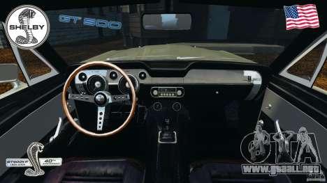 Shelby GT 500 para GTA 4 vista hacia atrás