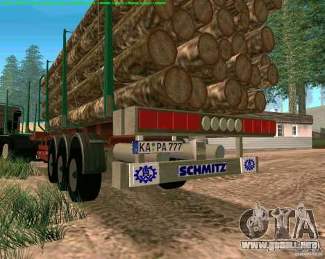 Trailer de Kamaz 65117 para GTA San Andreas vista hacia atrás