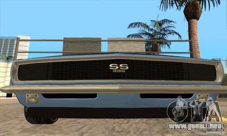 Chevrolet Camaro SS 1967 para vista inferior GTA San Andreas