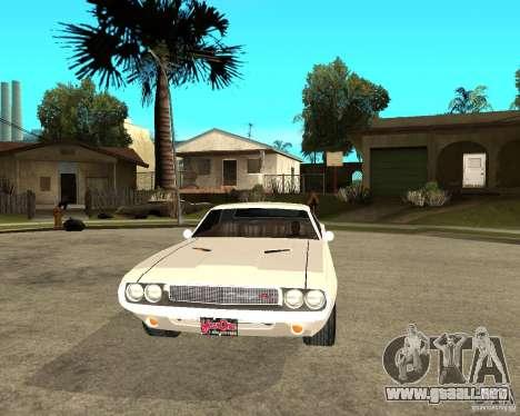 Dodge Challenger R/T Hemi 70 para GTA San Andreas vista hacia atrás