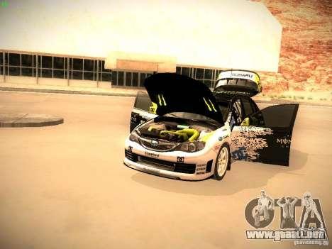 Subaru Impreza Gymkhana para GTA San Andreas vista hacia atrás
