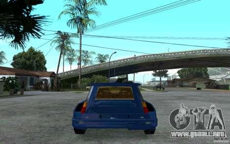 Renault 5 Maxi Turbo para GTA San Andreas vista posterior izquierda