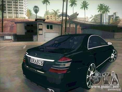 Mercedes-Benz S 500 Brabus Tuning para GTA San Andreas vista posterior izquierda