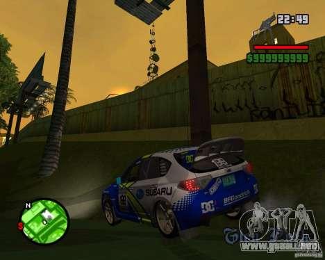 DiRT 2 Subaru Impreza WRX STi para GTA San Andreas vista posterior izquierda