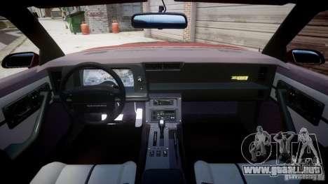 Chevrolet Camaro 1990 IROC-Z v1.5 para GTA 4 Vista posterior izquierda