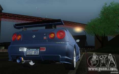 Nissan Skyline GT-R R34 M-spec Nur para la visión correcta GTA San Andreas