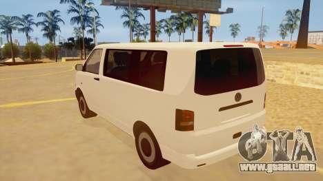 Volkswagen Transporter T5 Facelift 2011 para GTA San Andreas vista posterior izquierda