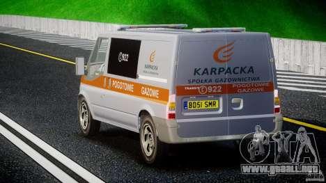 Ford Transit Usluga polski gazu [ELS] para GTA 4 Vista posterior izquierda