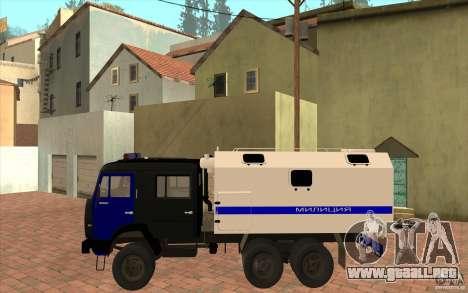 Policía Kamaz para GTA San Andreas vista posterior izquierda