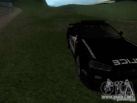 Nissan Skyline R34 Police para GTA San Andreas vista hacia atrás
