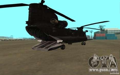 MH-47G Chinook para GTA San Andreas vista posterior izquierda