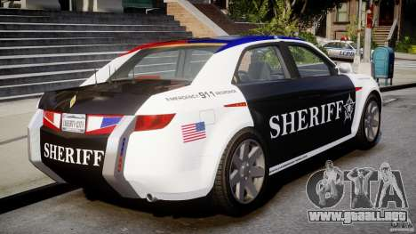 Carbon Motors E7 Concept Interceptor Sherif ELS para GTA 4 Vista posterior izquierda