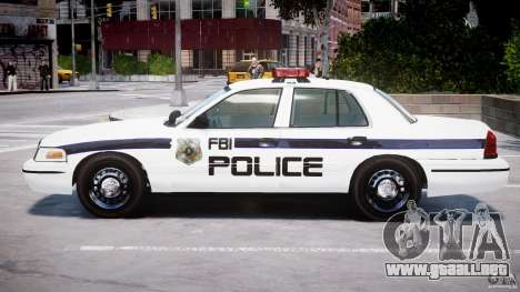 Ford Crown Victoria 2003 FBI Police V2.0 [ELS] para GTA 4 Vista posterior izquierda