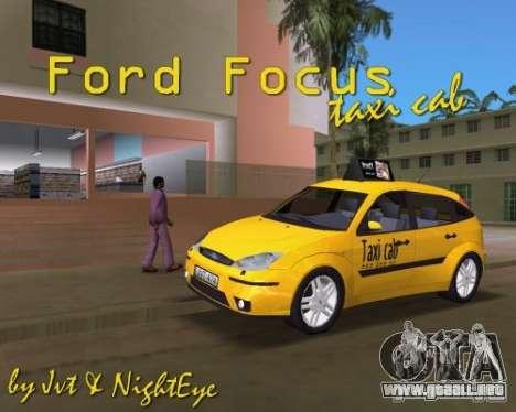 Ford Focus TAXI cab para GTA Vice City visión correcta