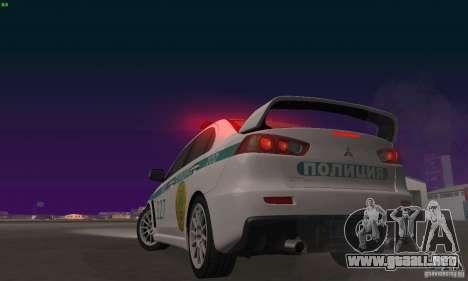 Mitsubishi Lancer Evolution X policía de Kazajis para vista lateral GTA San Andreas