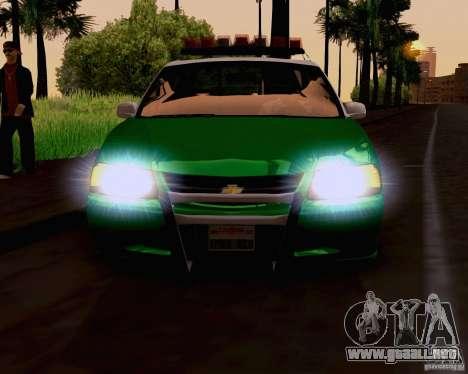 Chevrolet Impala 2003 VCPD police para GTA San Andreas vista posterior izquierda