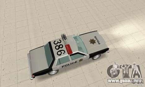 Dodge Diplomat 1985 Police para GTA San Andreas vista posterior izquierda