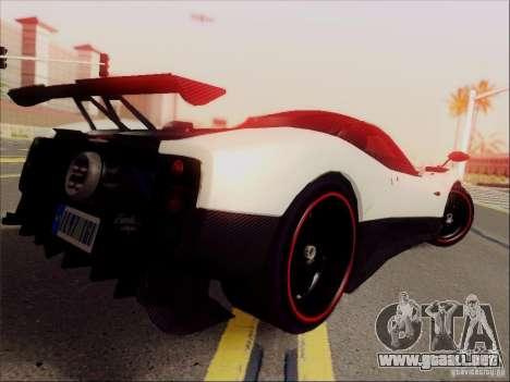 Pagani Zonda Cinque para GTA San Andreas vista posterior izquierda