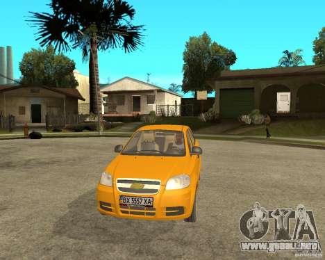 Chevrolet Aveo 2007 para GTA San Andreas vista hacia atrás